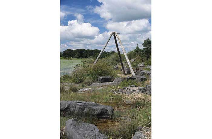 Tripod at old limestone quarry, Partry Estate by Lynda Huxley