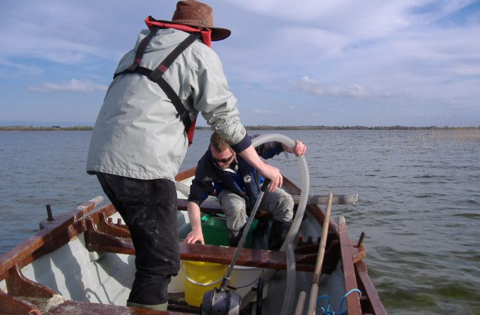 Ken Irvine and Barrie Tuite sampling the aquatic fauna in 2009 using a hand operated suction pump 1 by Chris Huxley