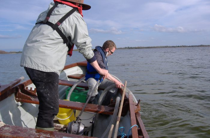 Ken Irvine and Barrie Tuite sampling the aquatic fauna in 2009 using a hand operated suction pump 2 by Chris Huxley