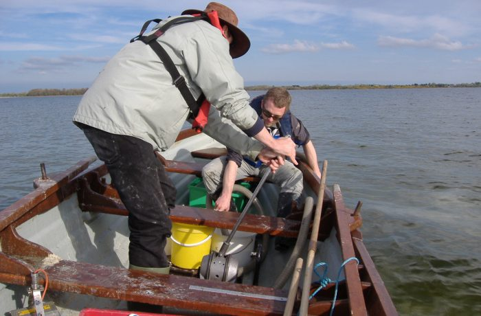 Ken Irvine and Barrie Tuite sampling the aquatic fauna in 2009 using a hand operated suction pump 4 by Chris Huxley
