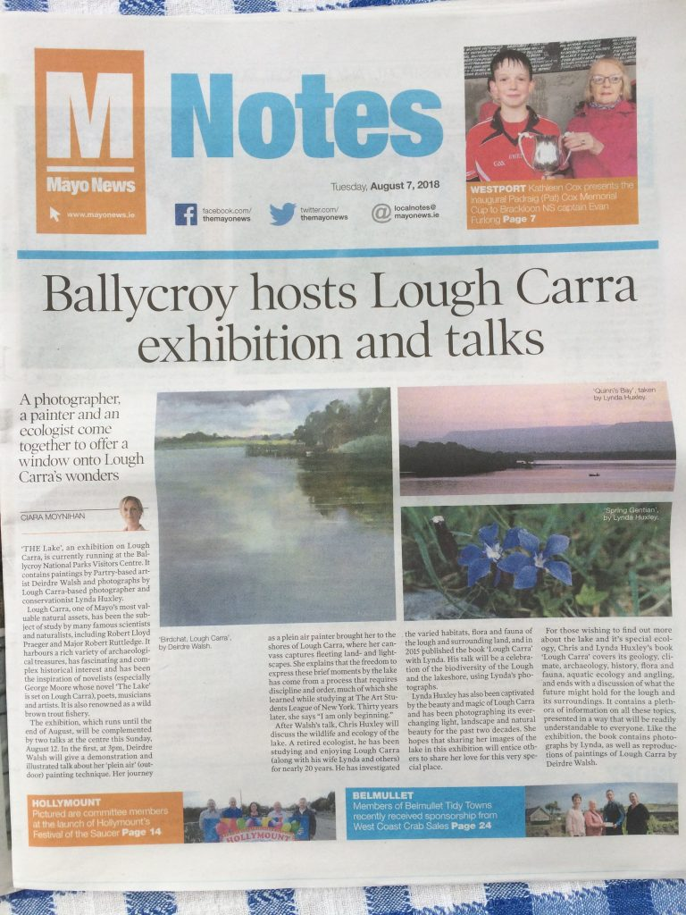 Mayo News Article on Ballycroy Visitor Centre exhibition and talks about Lough Carra