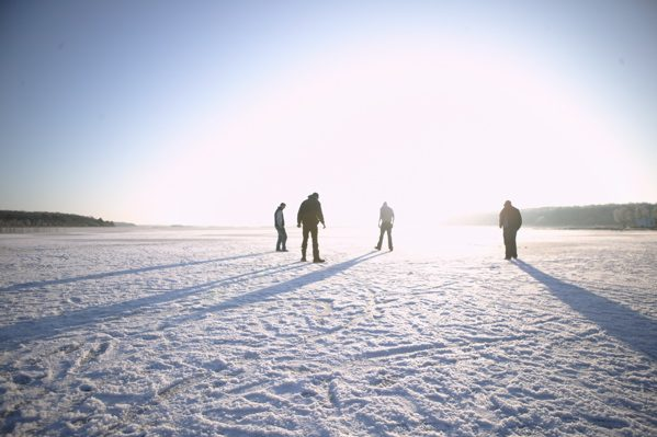 Standing on frozen Lough Carra at Moorehall by Patrick O'Reilly, Carra Boat Hire