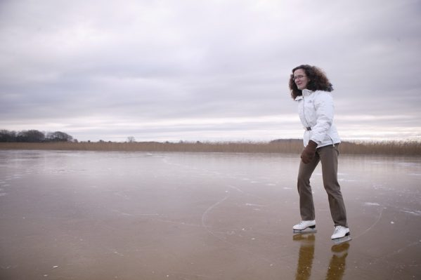Ute Bartels skating on Lough Carra in January 2010 by Patrick O'Reilly, Carra Boat Hire