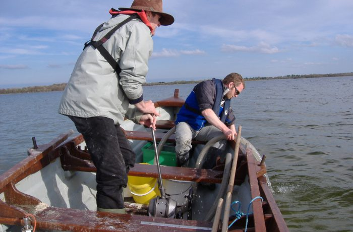 Ken Irvine and Barrie Tuite sampling the aquatic fauna in 2009 using a hand operated suction pump 3 by Chris Huxley