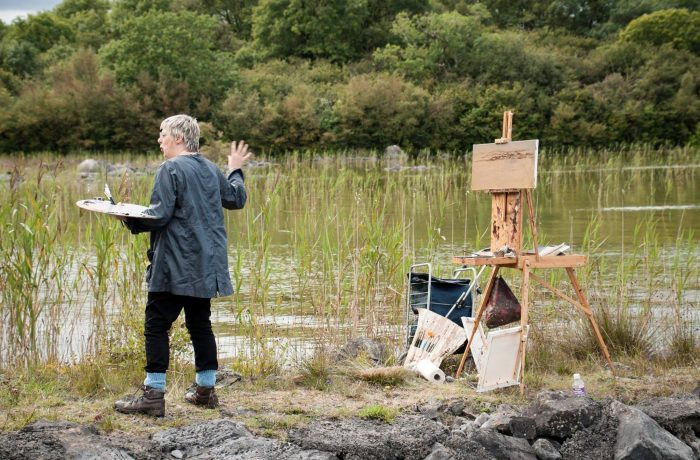 Deirdre Walsh demonstrating the joys of art at Lough Carra